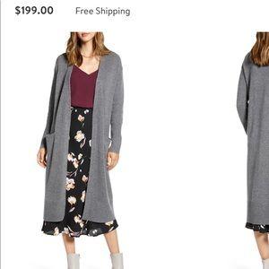 Wool & Cashmere Long Cardigan Dark Grey